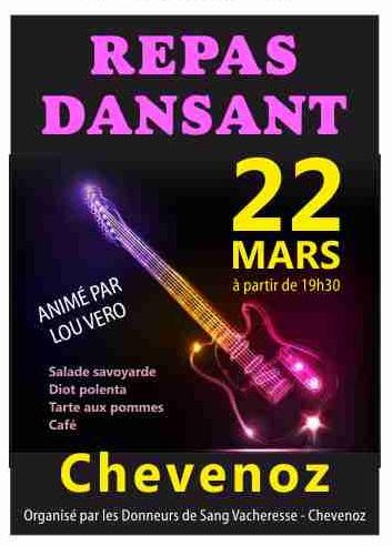 DONNEUR DE SANG VACHERESSE CHEVENOZ REPAS DANSANT 22 MARS