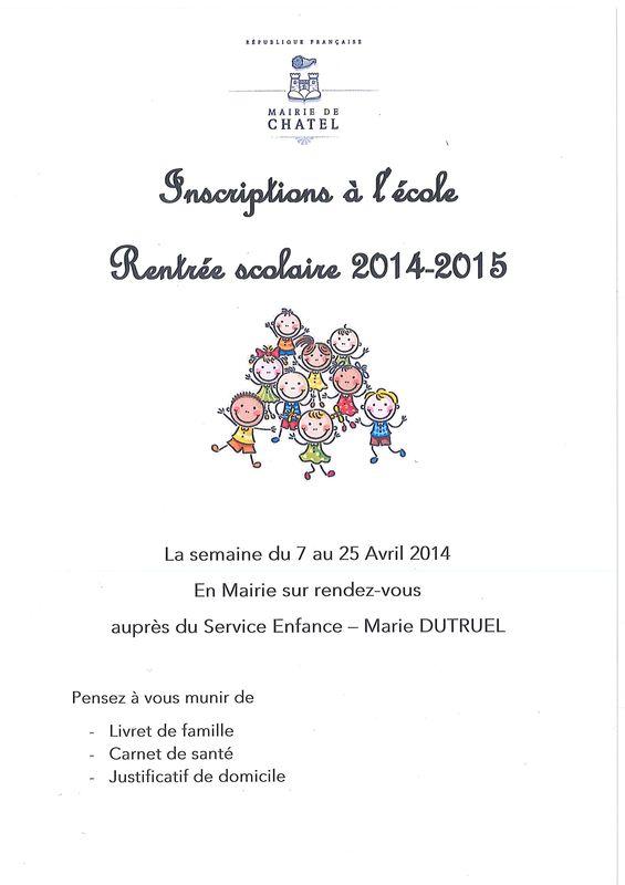 Inscriptions ecole de Chatel rentree 2014