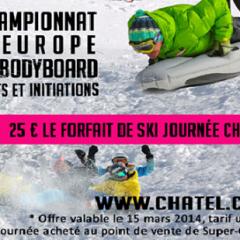A Châtel le 15 mars 2014 Championnat d'Europe de Bodyboard des neiges à Super Châtel