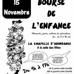 Bourse de l'Enfance le 15.11 à La Chapelle