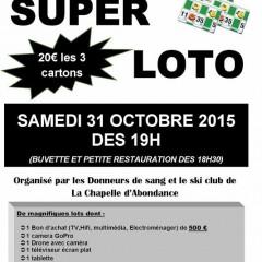 Super Loto des Donneurs de sang et du Ski Club ce 31.10