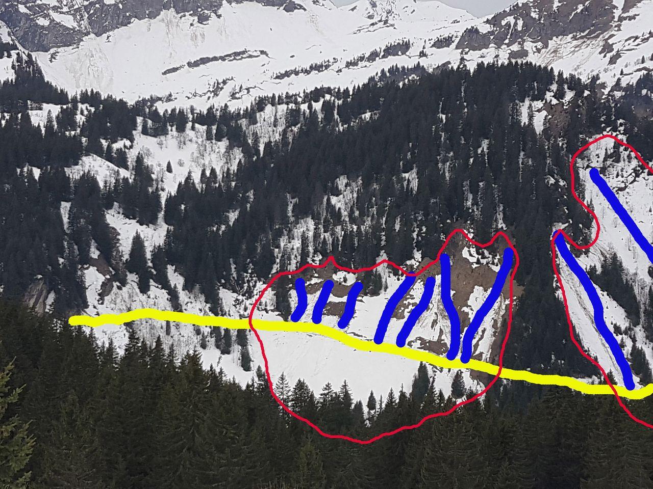 Zoom sur les avalanches de la route des chalets de Lens © B. Guffroy infoval74.com | valdabondance.com