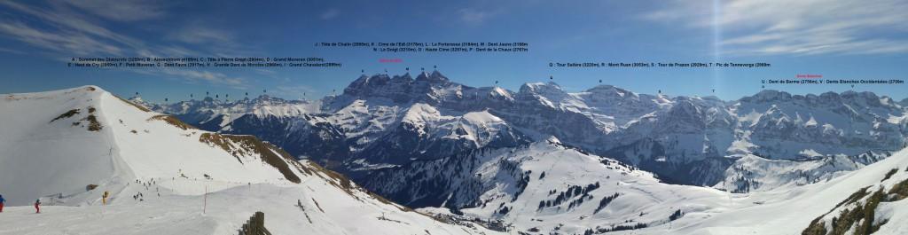 Vue sur les Alpes Suisse depuis le col des Portes de l'Hiver