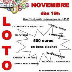 Loto du Ski Club et Des Donneurs de Sang ce samedi 03 novembre à La Chapelle d'Abondance